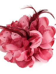 Flower-Shaped Feather Beads Brooch/Hairpins Wine Red (1Pc)