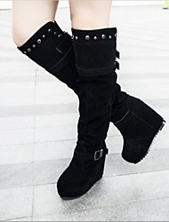 Women's Shoes Round Toe Wedge Heel Over The Knee Boots