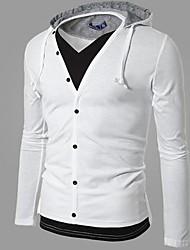 Men's Fashion Single Row Button Open Front Hoodie