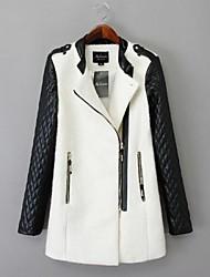 bolso com zíper duplo casaco fashion de lã para shangfei ™ mulheres
