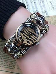 Women's Fashion High Quality Leopard Leather Quartz Movement Bracelet Watches