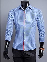 GMIG Men's Long Sleeve Slim Causual Check Shirts