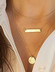 Mulheres Colares com Pendentes Colares Vintage Forma Geométrica Liga Moda Europeu Multi Camadas Paetês bijuterias Jóias Para Diário