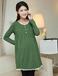 maternidade roupas de manga longa de bolinhas de algodão de malha vestido de grávida