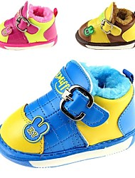 Boy's / Girl's Boots Winter First Walkers Leatherette Outdoor / Casual Flat Heel Magic Tape Blue / Brown / Red