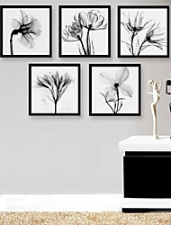 Framed Canvas Art, Black And White Flowers Framed Canvas Print Set of 5