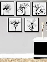 gerahmtes Leinwand Kunst, schwarz und weiße Blumen gerahmtes Leinwanddrucksatz von 5