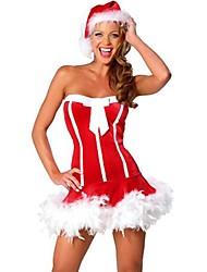 sexy strapless vestido de la raya de la Navidad de la mujer de rendimiento&sombrero