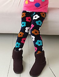 Girl's Fashion Sweet Joker Floral Print Thickening Warm Leggings