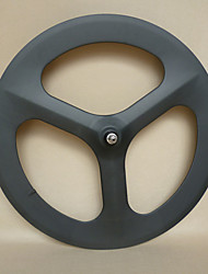 Yanbo 700C baratos ruedas de engranaje fijo 70 mm de carbono de 3 rayos de la rueda del remachador del wheelset / trasero (1 pieza)