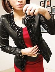 Faux Leather Long Sleeve Collarless  Beading Special Occasion/Casual PU Jacke