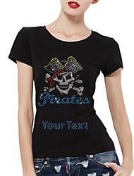 t-shirt personalizados crânio do pirata de algodão mangas curtas padrão das mulheres