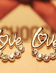 aretes de moda de diamantes de amor