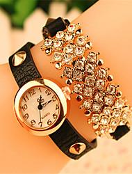Abby Women's Elegant Rhinestone&Pu Bracelet Watch