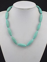 Toonykelly®Fashionable Natural Real Green Turquoise Stone Bead Necklace(1 Pc)