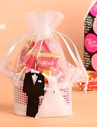 cesta de renda branca com o noivo&vestido de noiva favor bag-conjunto de 12