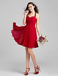Lanting Bride Knee-length Chiffon Bridesmaid Dress A-line Halter Plus Size / Petite with Criss Cross / Ruching