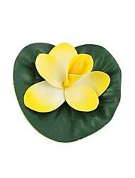 artificial de plástico de loto flotando peces de acuario amarillo charca piscina tanque de decoración