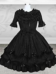 lieve dame met korte mouwen knielange zwarte katoenen schoolgroep lolita jurk