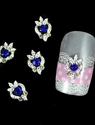10pcs Blue Rhinestone Silver DIY Alloy Nail Art Decoration