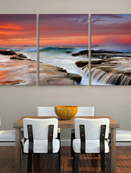 Stretched Canvas Print Art Landscape Waterfall Set of 3
