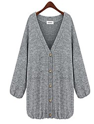 Women's Yellow/Gray Cardigan , Casual Long Sleeve