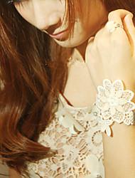 Patrón de flor blanca Sweet Lolita Pulsera con anillo