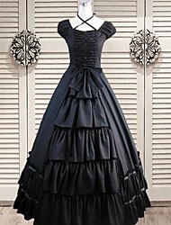 Sleeveless Floor-length Black Cotton Silk Gothic Lolita Dress