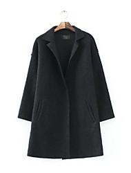 долго стиль женщин отказаться воротник сплошной цвет единственная кнопка пальто