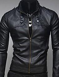 chaqueta de cuero de los hombres casuales