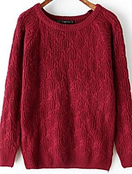 DMI™ Women's Round Collar Solid Color Sweater