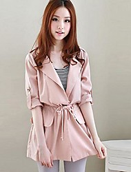 YIQI Women's Fashion Slim Long Trench Coat