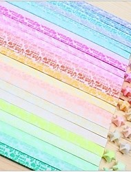 Fluorescent Effect After Lighting I Lvoe You Pattern Lucky Star Origami Materials(30 Pages/1 Color/Package Random Color)
