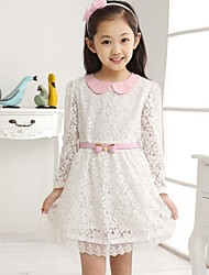 Girl's Floral Dress,Cotton Blend / Lace Winter / Spring / Fall Pink / White