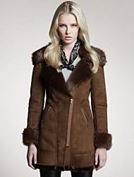 Veri gude® kvinders pels flad krave medie-down tykt læder frakke