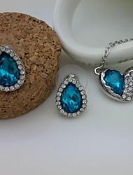 mode contracté douce collier pendentif coeur et boucles d'oreilles ensemble de bijoux