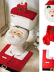 Christmas Home Decoration Santa Claus Toilet Lid Cover with Mat And Water Tank Cover