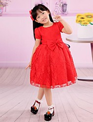 Red Round Neck Short Sleeves First Communion Dress Bowknot