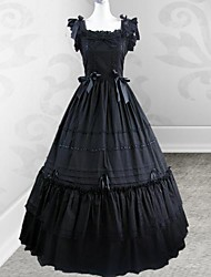 mouwloze vloer-lengte zwarte katoenen gothic lolita jurk