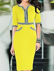Women's V Neck Bodycom ½ Length Sleeve Dress