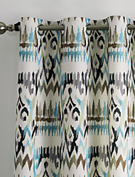 Two Panels Contemporary Abstract Gypsy Bohemian Style Cold Colors Floral Curtains Drapes