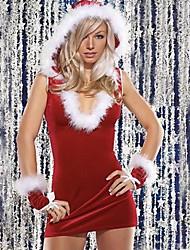 sexy delgada v cuello de la mujer de rendimiento encapuchado guantes de Navidad y vestido