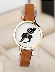 reloj de moda pulsera de cuarzo patrón lindo ciervo delgado de la mujer (colores surtidos)