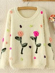 Mode Rundhals Langarm Damen Pullover stricken Pullover