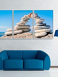 Framed Canvas Art, Stacked Stone Framed Canvas Print Set of 3