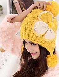 moda joker encantadora bowknot de las mujeres con la bola que hace punto caliente gorro de lana