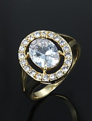 Elegant Gold Plated with Big Zircon Men's Ring(More Colors)