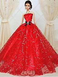 Party/Evening Dresses For Barbie Doll Red Dresses For Girl's Doll Toy