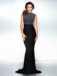Formal Evening Dress - Black Plus Sizes Trumpet/Mermaid Jewel Sweep/Brush Train Jersey