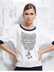 mokio coreano padrão da coruja moda causal manga longa tshirt das mulheres